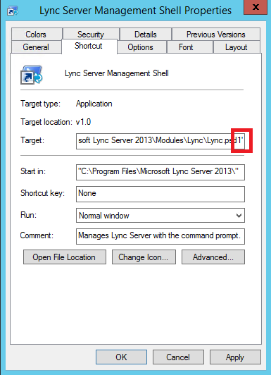 Lync 2013 SfB 2015 Management Shell Missing Prompt